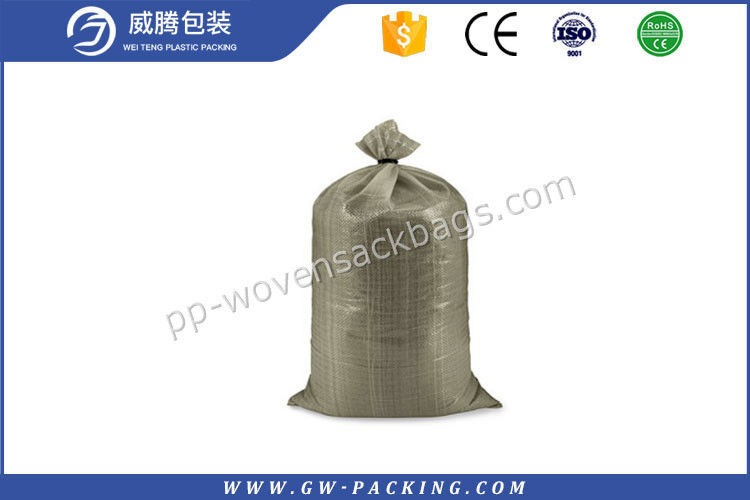 High Tensile Strength Woven Rubble Sacks , Recyclable Laminated 50 Kg Empty Bags
